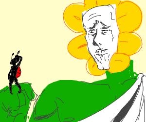 Anime flower god is staring at girly ladybug