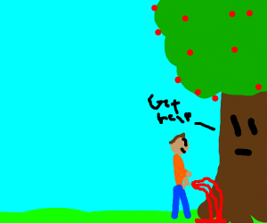 man pees blood in a tree