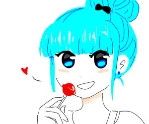 blue haired girl gets candy