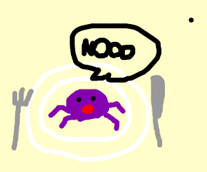 Purple crab doesn't want to be eaten