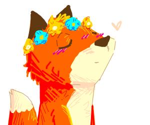 Fox with a flower crown O////O