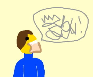 lego man talking with mouth full