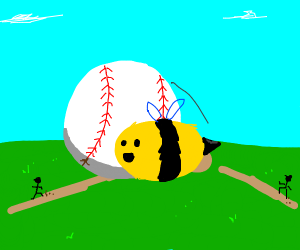 Happy bee is about to get hit by baseball