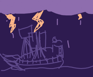 pirate ship sailing in storm