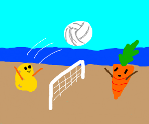 Potato playing volleyball with a carrot