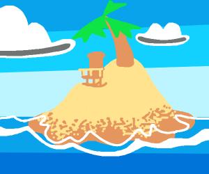 chair on desert island