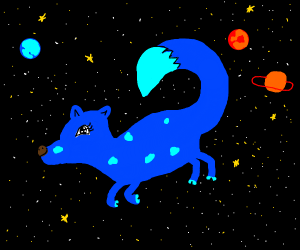 blue strange animal floating in space