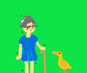 Shaky Grandma with a Duck