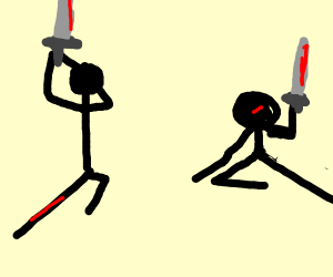 Stickfiguers fighting a war