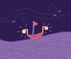 Boat on purple sea with globe lanterns