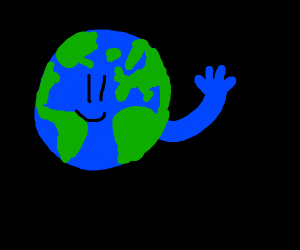 Earth with a blue hand