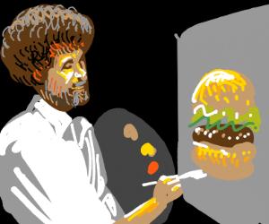 Bob Ross paints burger