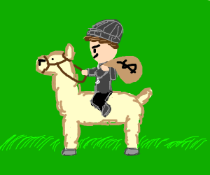 Robber riding a Llama
