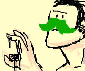 Man with green mustache holds dirt