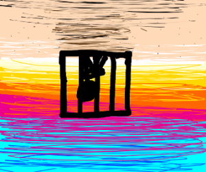 guy is caged in the desert,all is upside down