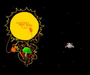 Sun burns tree in space