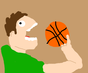 Creepy guy about to eat a basket ball