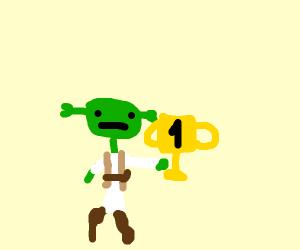 Stick figure Shrek is a winner