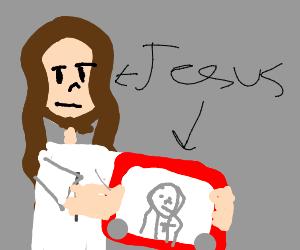 God presents an etch a sketch of himself