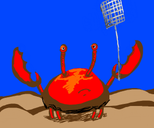painting of a crab with a fly swatter