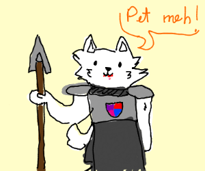 While knight doggy wants to be petted