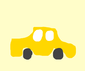 A yellow car with grey roller wheels (geometr