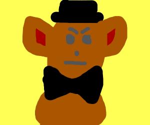 Dapper teddy bear is displeased