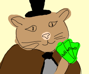 Puss with top hat, bowtie holding cash