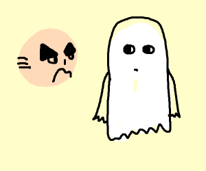 mad head stares at ghost-dude
