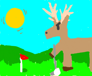 deer playing golf in the sunny day