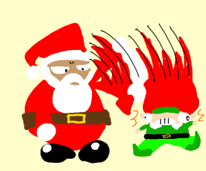 Santa smiting an elf