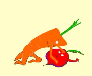 Carrot vs Beet wrestling match,carrot isBettr
