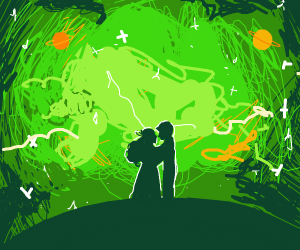 2 people bouta kiss in front of green nebula