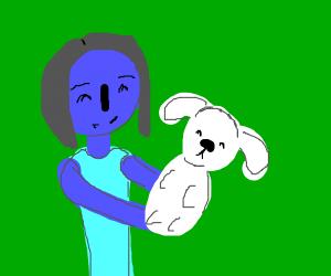 blue lady holding white dog