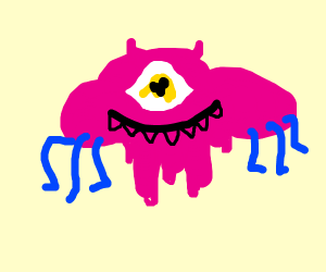 big eyed pink melting monster with 6 bluelegs