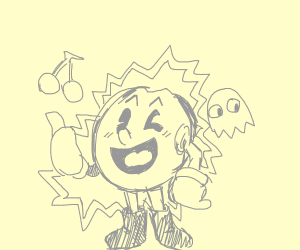Pacman is cute and happy