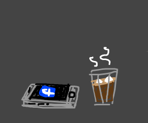 glass of cocoa and Facebook phone