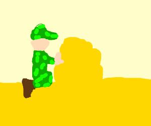 a soldier building a sand castle