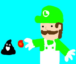 luigi shooting black poop