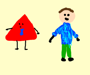 Red triangle man and man in blue sweater