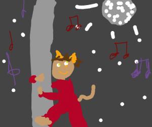 Cat-eared boy is poledancing