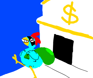 bright blue chicken flees bank he just robbed