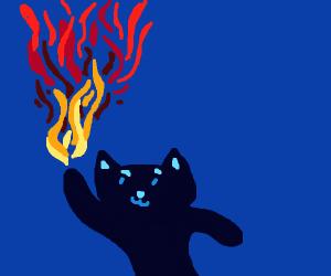 Cat discovers the secret of pyromancy