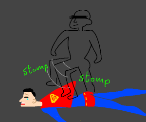superman gets stomped on