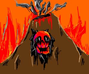 Red skull volcano