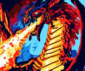 Evil dragon breathes fire