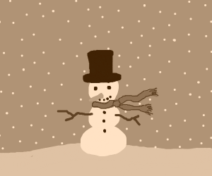 snowman while its snowing