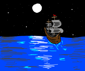 a ship on a moonlit ocean