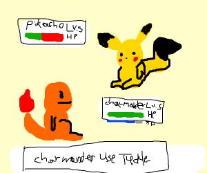 Charmander uses tickle on pikachu