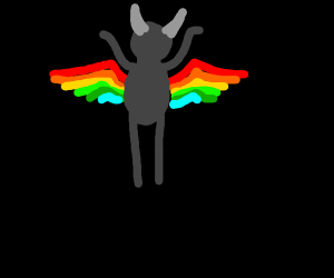 Satan with rainbow wings